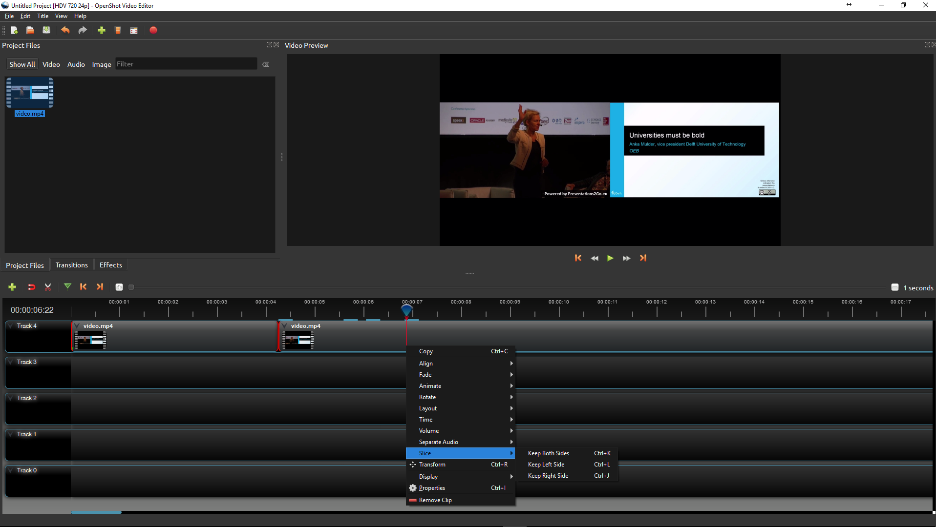 Trim with OpenShot Video Editor
